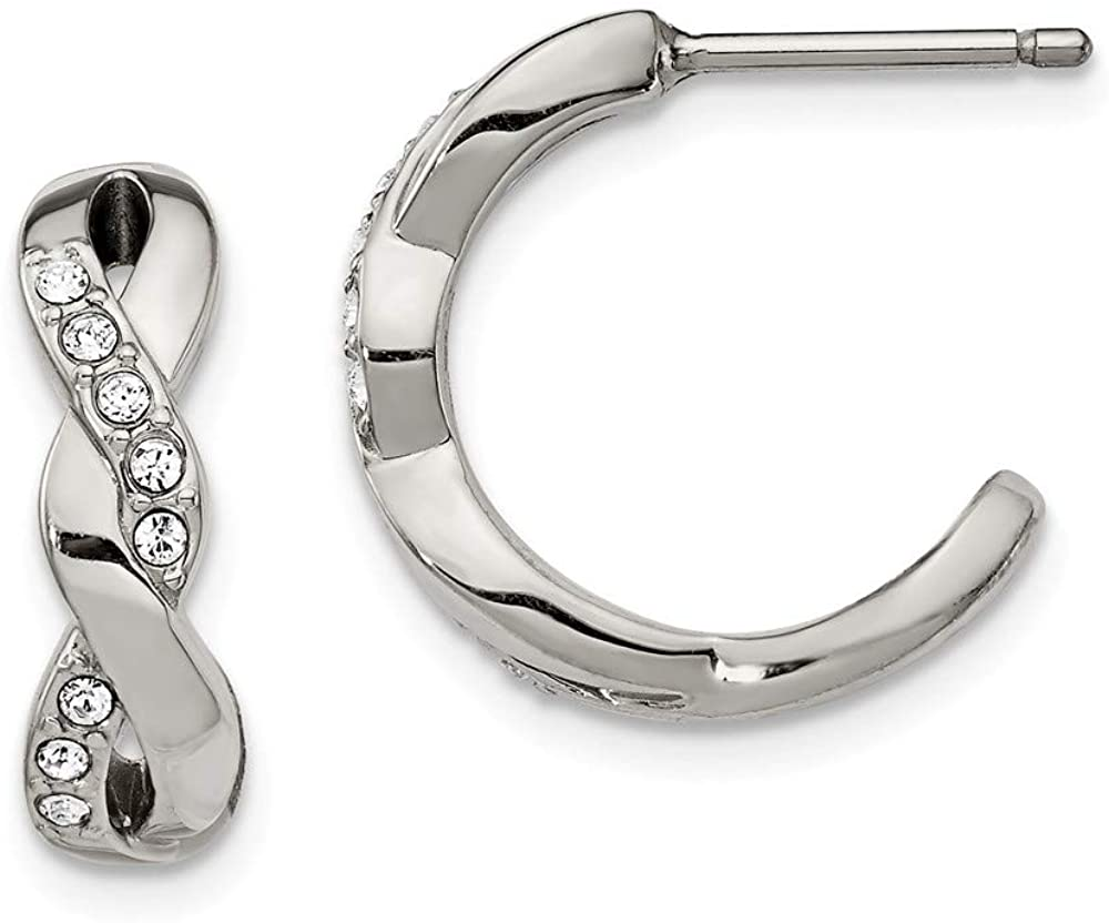 Solid Stainless Steel with Swarovski CZ Cubic Zirconia Crystals Post Hoop Earrings - 15mm x 4mm