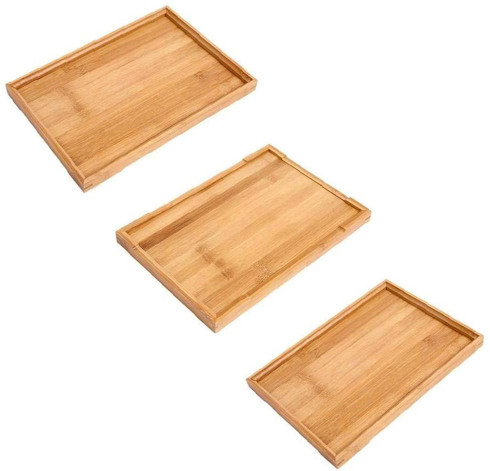 1pc Wooden Serving Tray Wood Ware Tray Tea Rectangular Home Water Kitchen Trays L