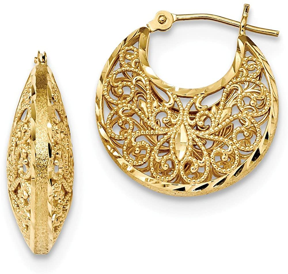 14K Yellow Gold Shiny-Cut Polished & Satin Filigree Hoop Earrings