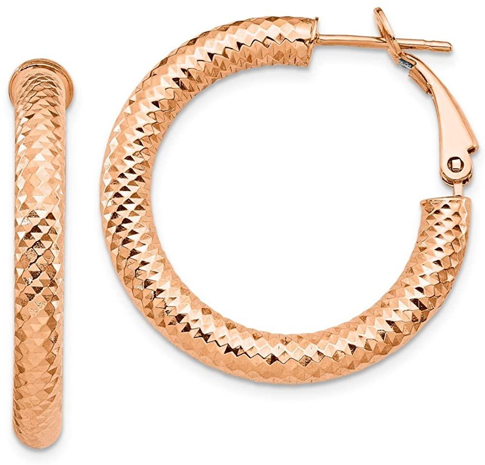 14k Rose Gold 4x20 Diamond-Cut Round Omega Back Tube Hoop Earrings - 29mm x 29mm