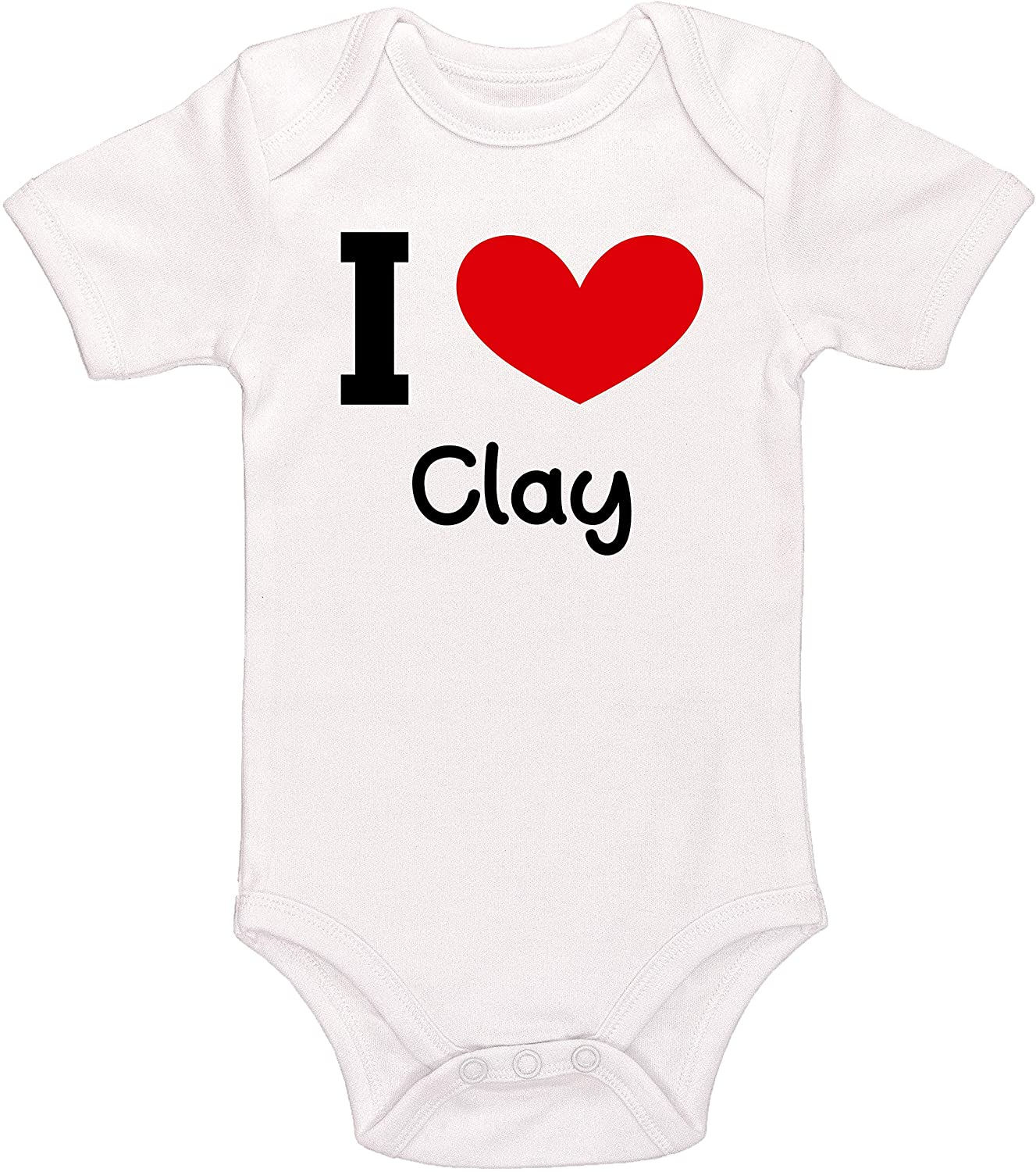 Kinacle I Love Clay Personalized Baby Bodysuit