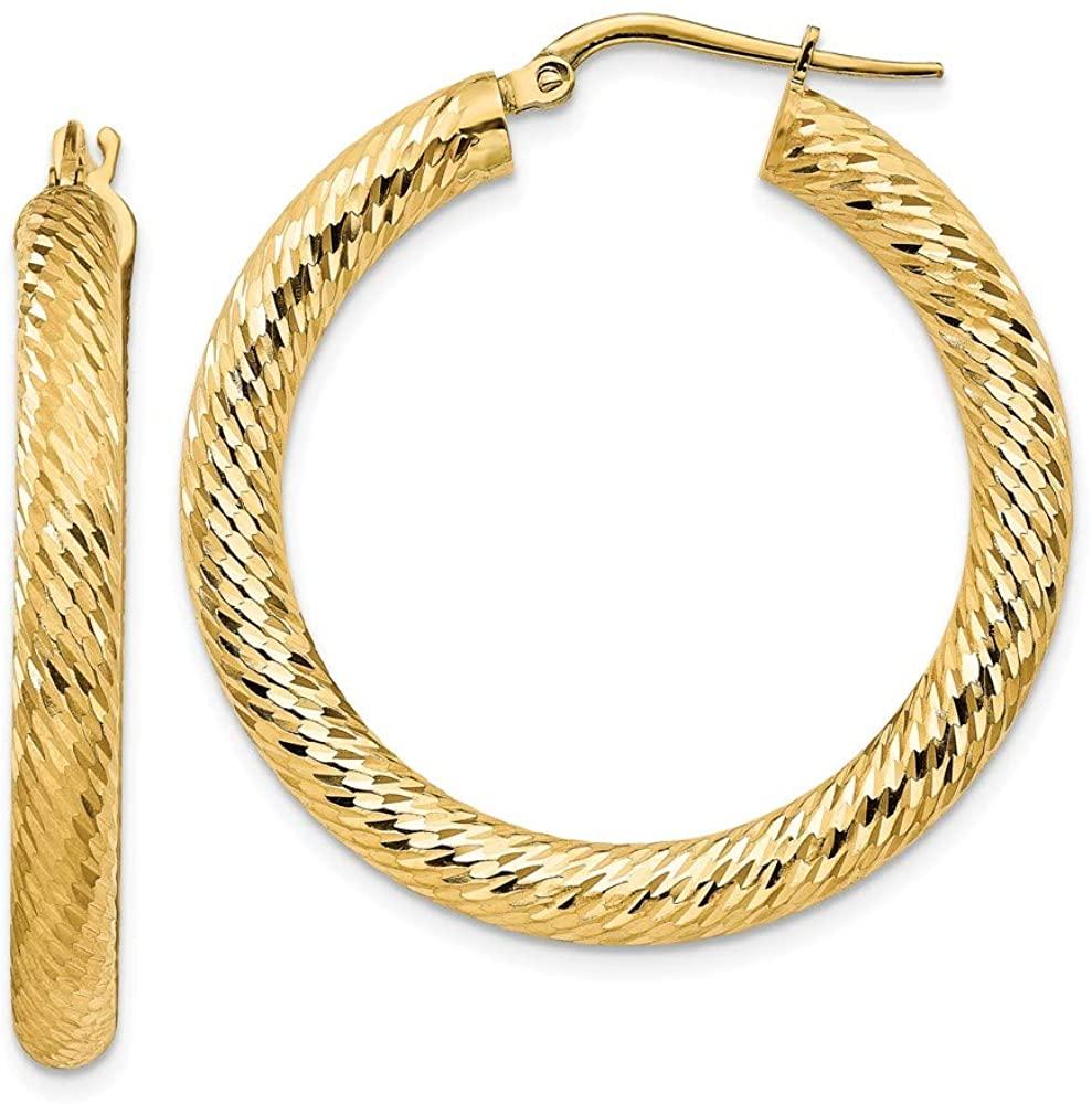 14K Yellow Gold 4X25mm Shiny-Cut Round Hoop Earrings