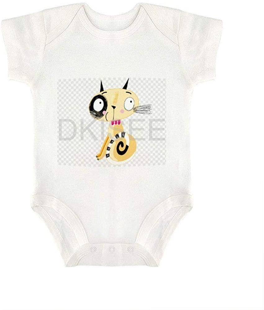 DKISEE Comfortable Baby Boys Girls Romper Jumpsuit Cartoon Animal Cat Short Sleeve Bodysuits Infant Funny Onesies Bodysuits
