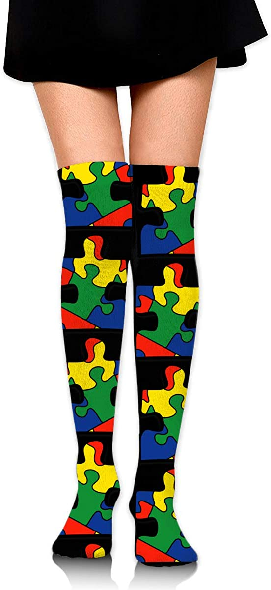 Knee High Socks Autism Awareness Women's Athletic Over Thigh Long Stockings