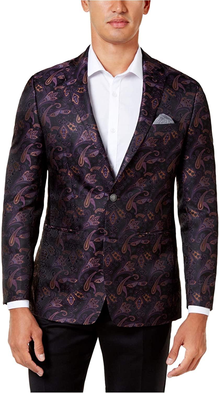 Tallia Mens Slim-Fit Two Button Blazer Jacket, Purple, 48 Regular