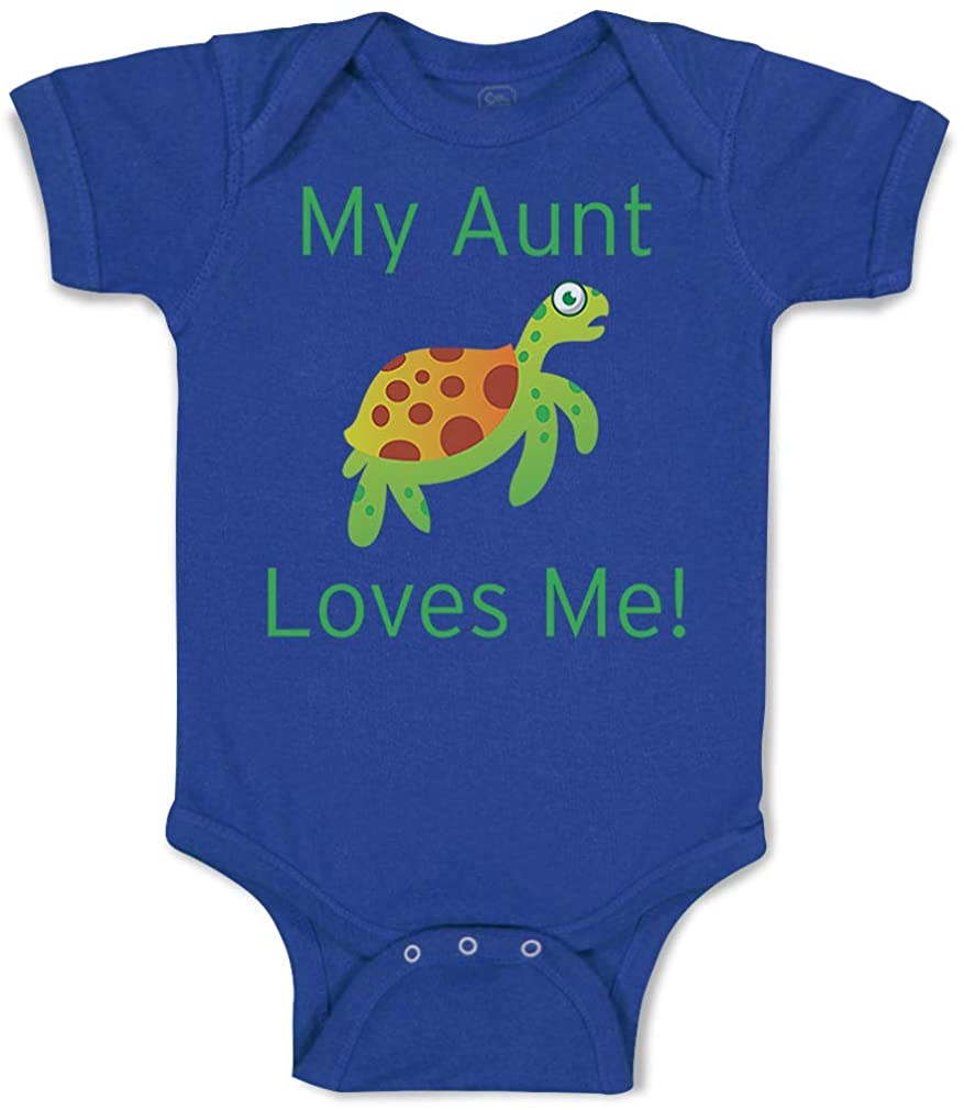 Custom Baby Bodysuit My Aunt Loves Me Turtle Cotton Boy & Girl Baby Clothes