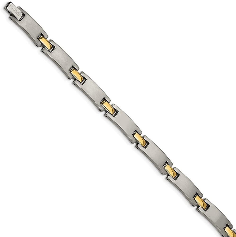 Sonia Jewels Titanium Yellow IP-Plated 8.5in Bracelet 8.5