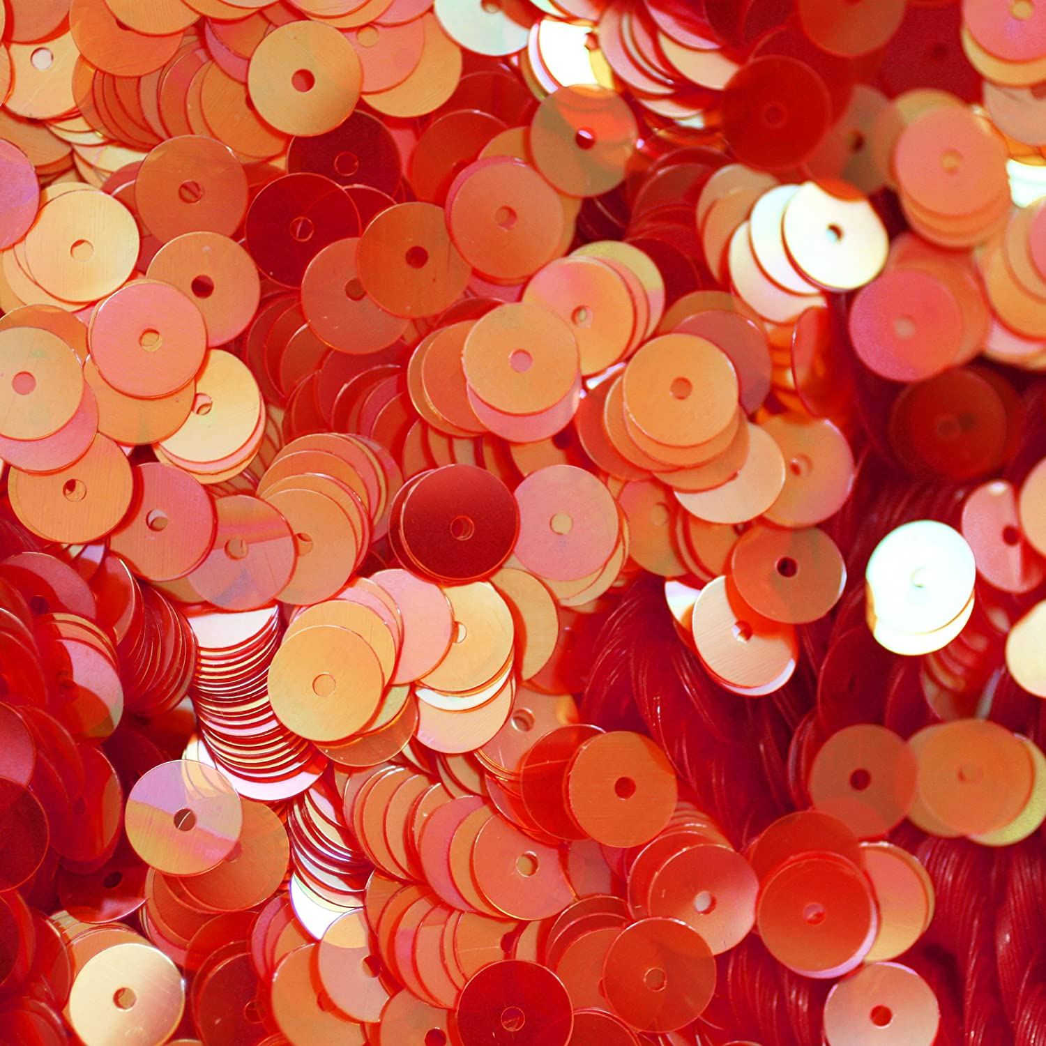 6mm Flat Round SEQUIN PAILLETTES ~ CORAL PINK Rainbow Iris ~ Loose sequins for embroidery, bridal, a