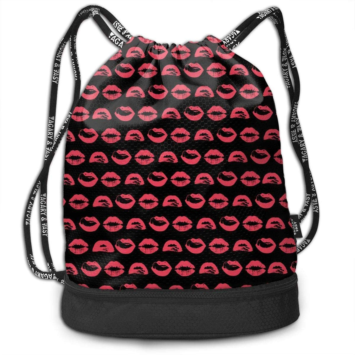 Bundle Backpacks Pink Stripe Lips Gym Sack Drawstring Bags Casual Daypack Yoga Bag School Training Pouch