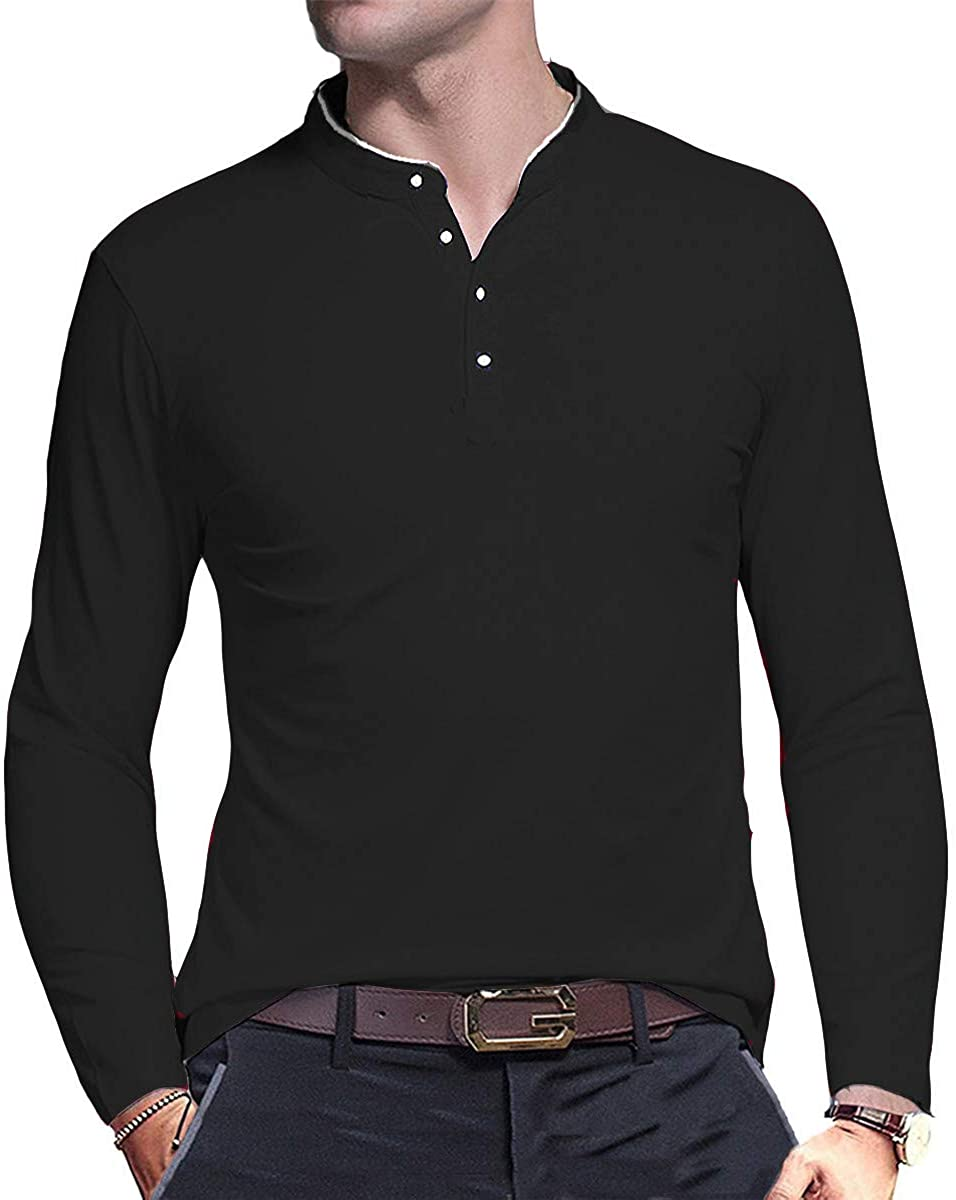 AITFINEISM Mens Casual Slim Fit Shirts Pure Color Long Sleeve Polo T-Shirts