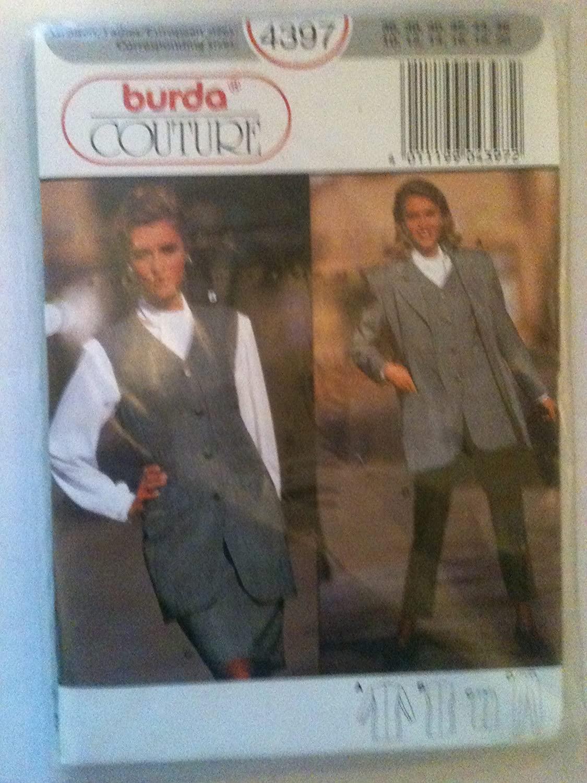 Burda Couture 4397 Jacket, Waistcoat, Skirt and Pants Pattern; Sizes 10-20