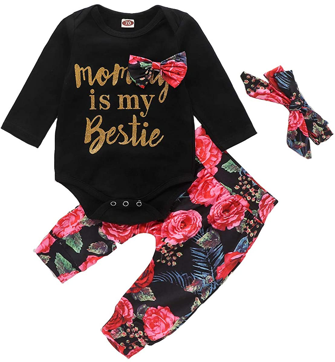 Toddler Girl Floral Clothes Set Long Sleeve Gold Letter Print Romper Long Pants Bowknot Headband 3PCS Outfits