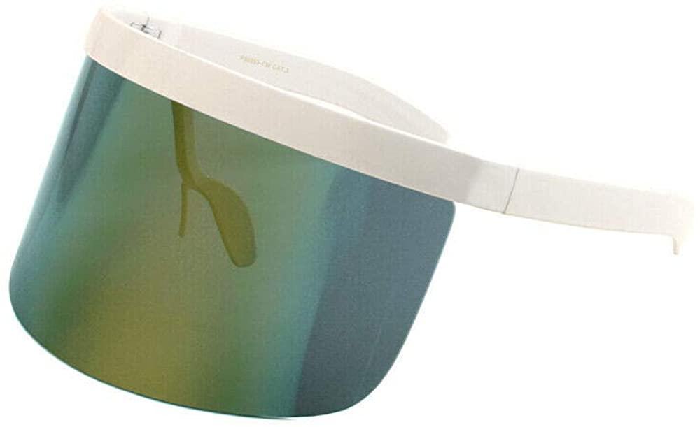 Half Rim Flat Top Oversized XXL Mono Shield Futuristic Wrap Face Visor Sunglasses