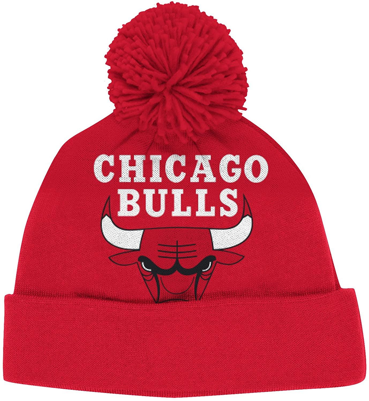 adidas Chicago Bulls Solid XL Logo Cuffed Pom Knit Beanie Hat/Cap