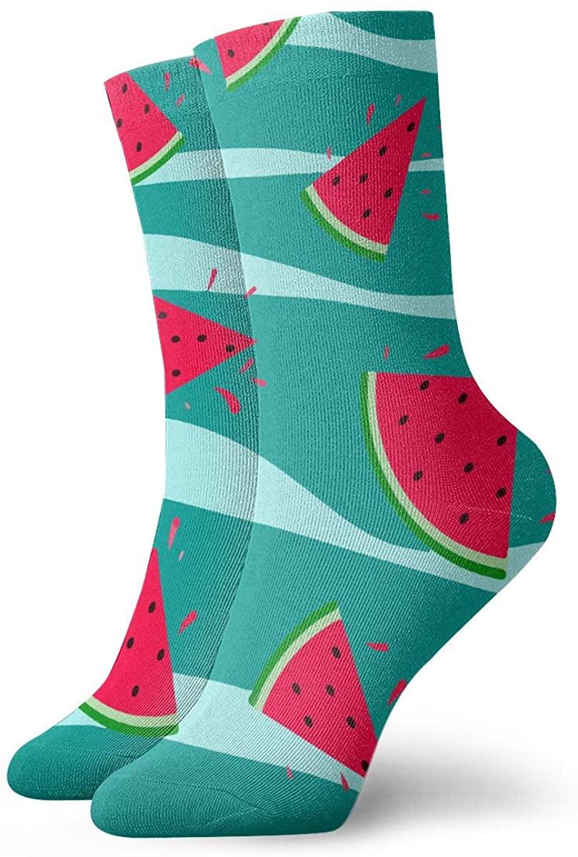 Watermelon Green Wave Short Crew Socks Dress Socks Athletic Socks