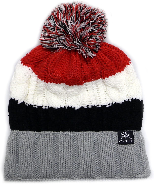 City Hunter Ck1050 Bold Stripe Pom Pom Knit Beanie Hat - Light Grey/red
