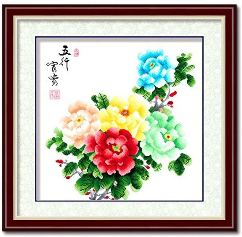 DOMEI Stamped Cross Stitch Kit, Colorful Peony, 23.6 x 23.6 inches