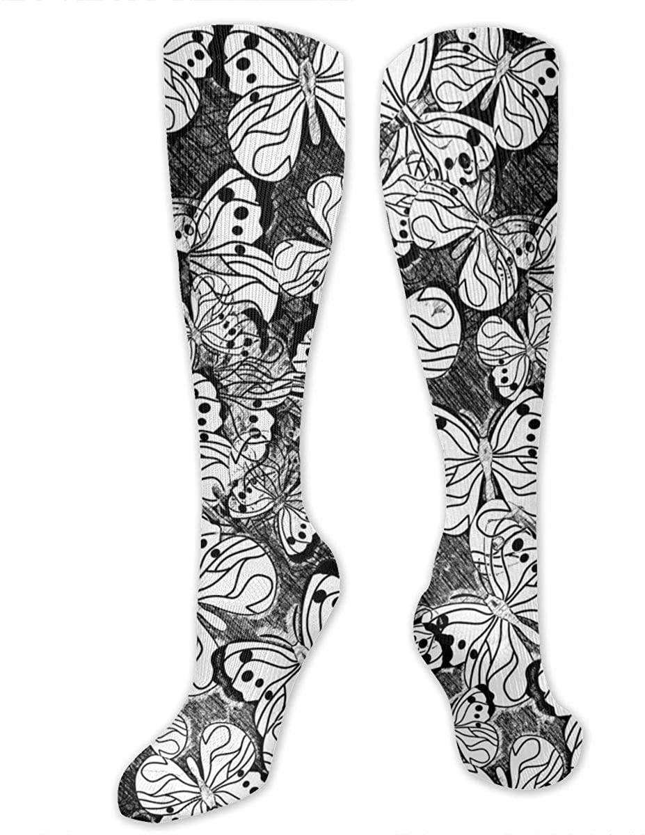 Men Women Knee High Socks Butterflies Sketch Boot Crew Hose Thigh Stockings