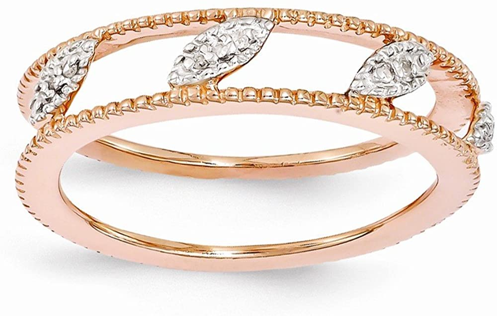 Sterling Silver Rose Gold-plated Dia Jacket Ring by Stackable Expressions, Best Quality Free Gift Box