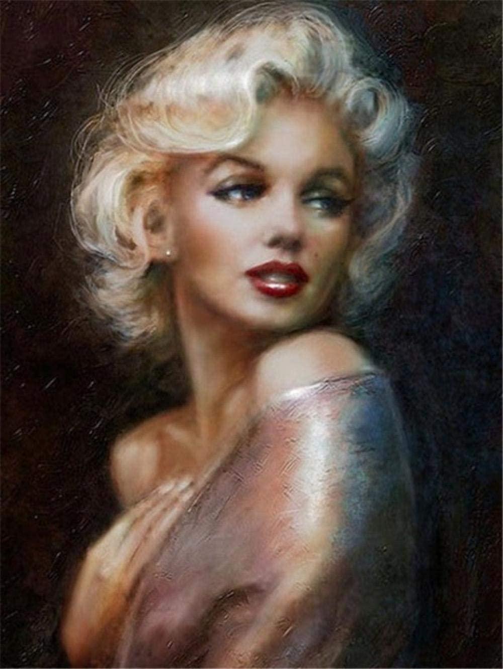 Full Diamond Painting Marilyn Monroe Diamond Embroidery Portrait Home Decoration 5D DIY Picture Mosaic Rhinestone 45x60cm/18x24in