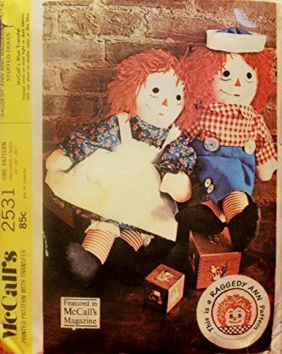 McCall's 2531 Vintage Sewing Pattern for Raggedy Ann and Andy Stuffed Dolls with Clothes