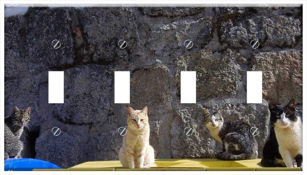 Switch Plate 4 Gang Toggle - Cats Feline Animal Feline Look Pet Domestic Feline