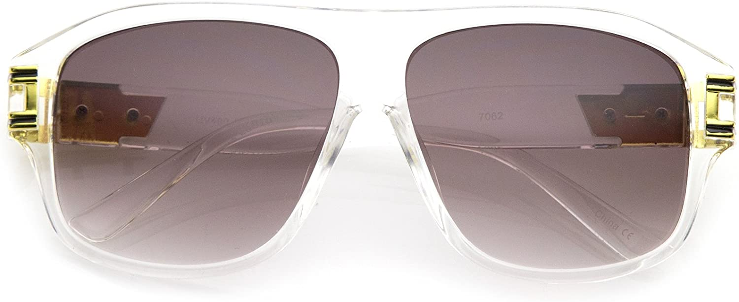 zeroUV - Oversize Flat Top Metal Accent Wide Temple Square Lens Aviator Sunglasses 60mm