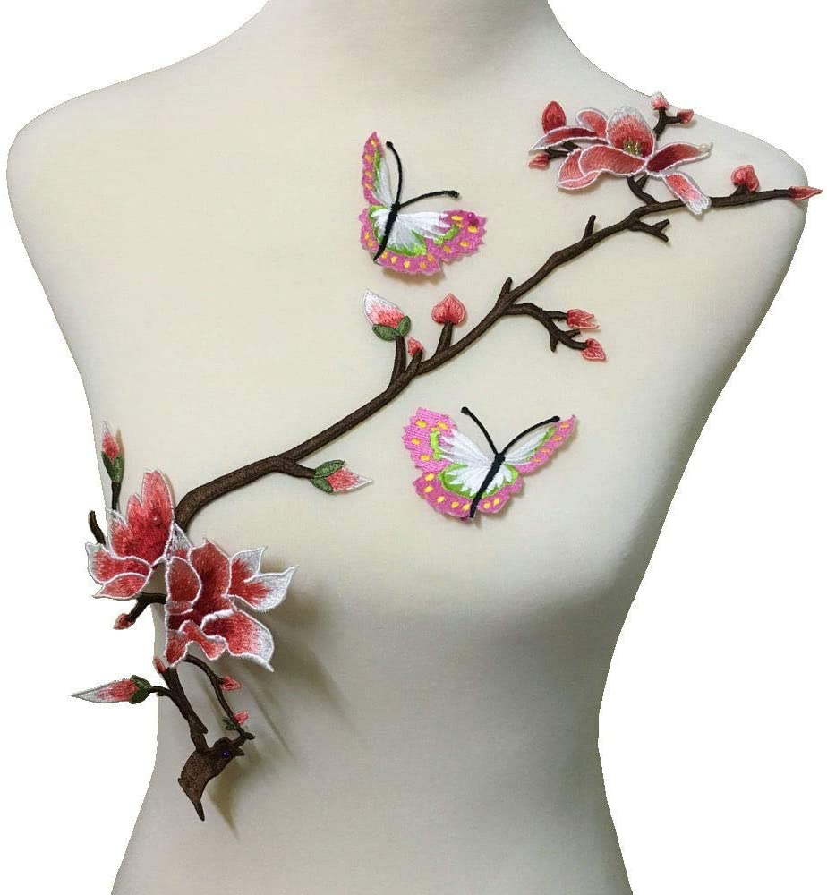 Embroidery Magnolia Flower Butterfly Patches Handmade DIY Cloth Garment Accessories Pack of 3 Piece/Set