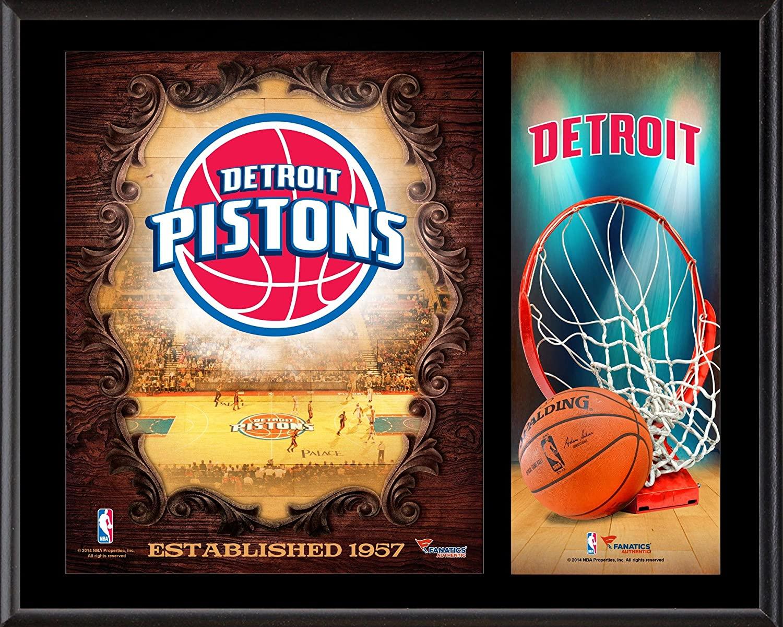 Detroit Pistons Sublimated 12 x 15 Team Logo Plaque - NBA Team Plaques and Collages