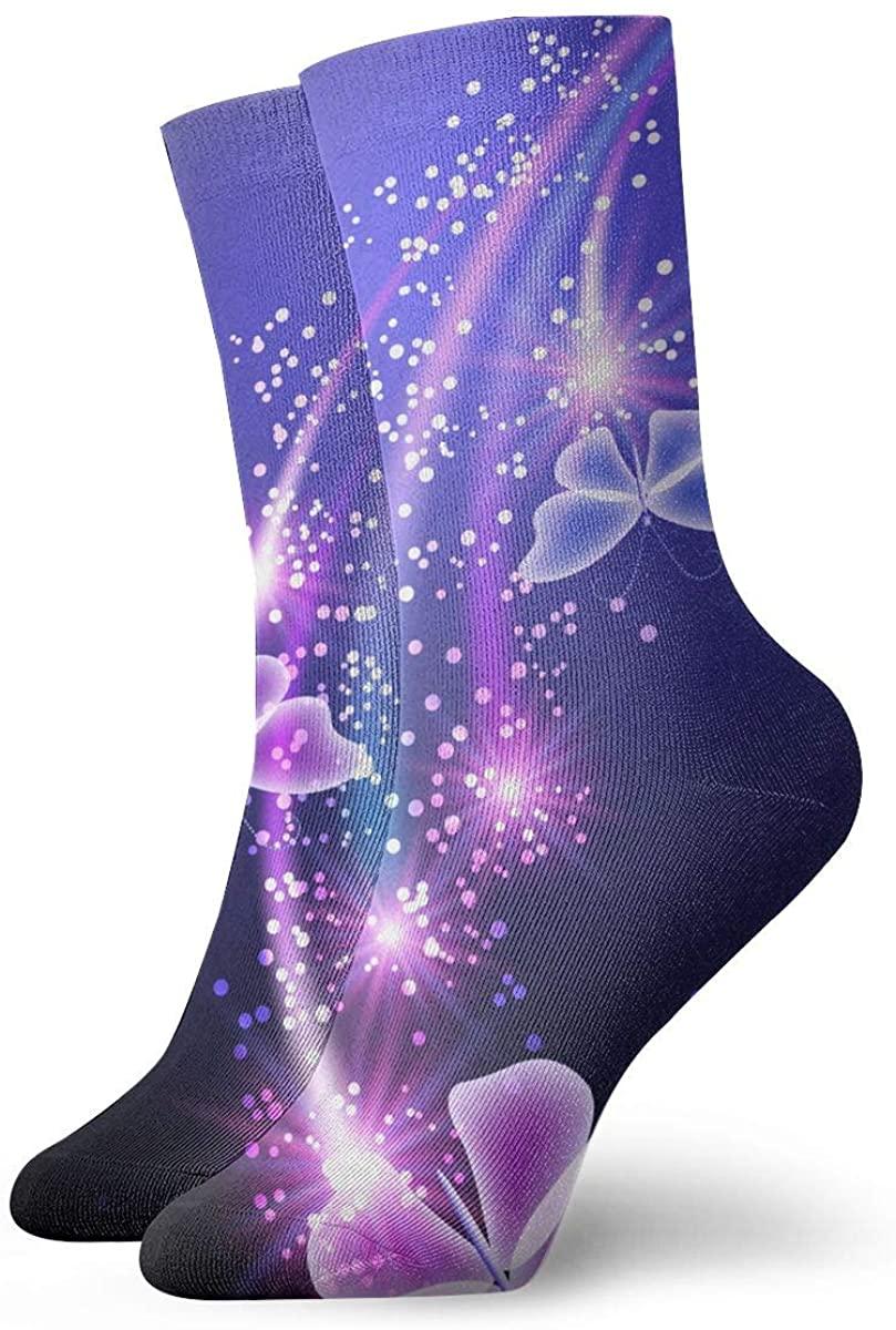 Blue Butterfly Stars Short Crew Socks Dress Socks Athletic Socks
