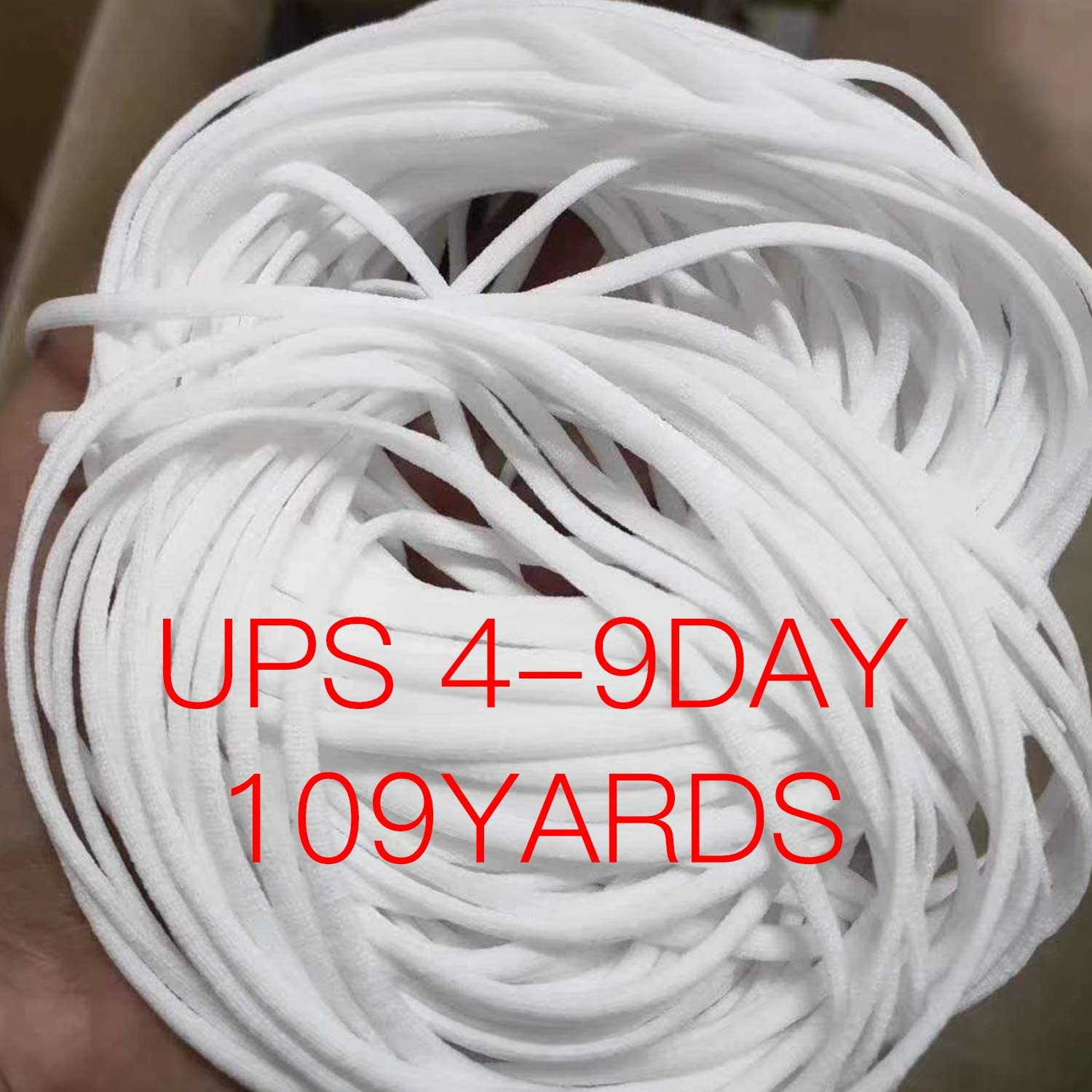 NZBZ Elastic Rope/Elastic Cord Heavy Stretch High Elasticity Knit Elastic Band for Sewing Crafts DIY (White, 109-Yards Length, 3 mm Width)