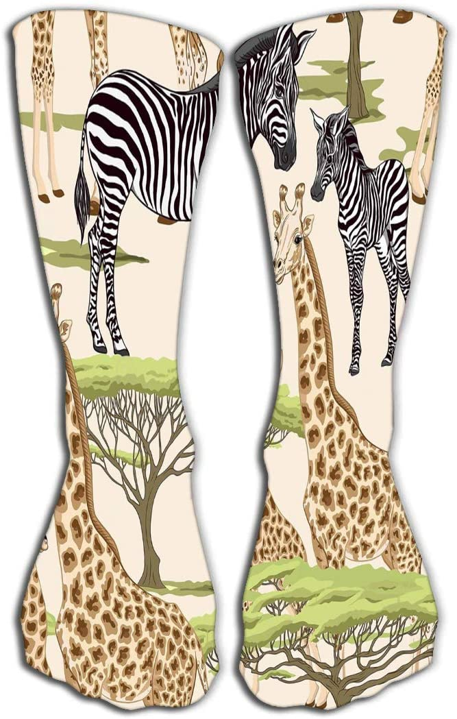 YILINGER Womens Mens Knee High Socks Athletic Socks 19.7(50cm) Seamless Pattern Background Adult Zebra Giraffe Zebra Giraffe Cubs Realistic Drawing Animalism Retro