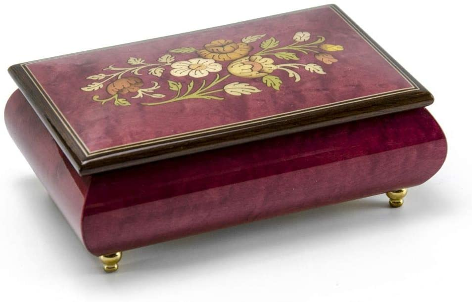 Remarkable Red Wine Floral Theme Wood Inlay Musical Jewelry Box - Many Songs to Choose - I Dreamed A Dream