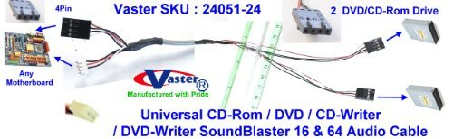SuperEcable - 24051 - CD-ROM/DVD/CD-Writer/DVD-Writer(2 DVD Drive to Any Sound-Card) Audio Cable