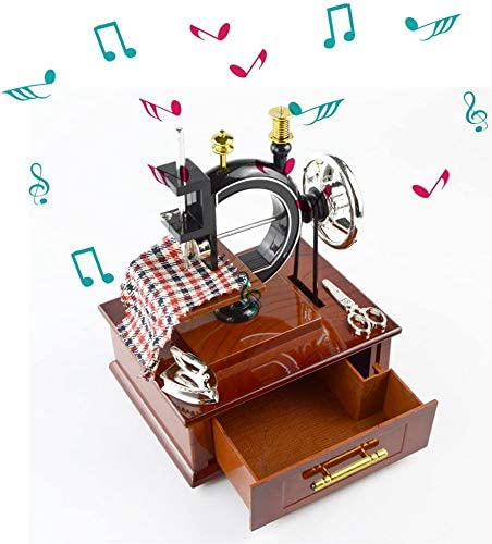 Saim Sewing Machine Music Box Table Decor Mechanical Christmas Birthday Gift