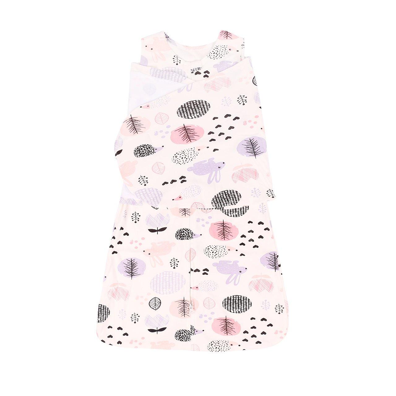 Cotton Sleep Bag,Swaddling Wrap Baby Wearable Blanket Sleep Bag Length 26''(Hedgehog Rabbit)