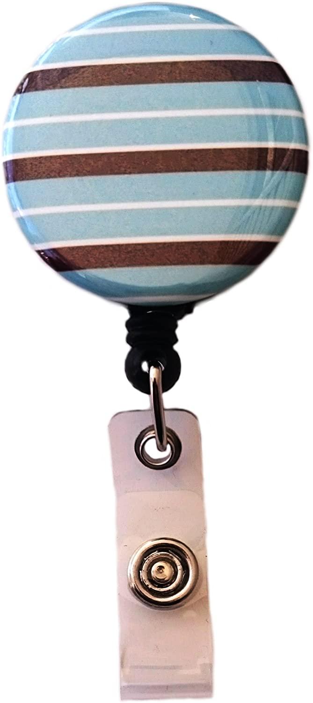 Blue & Brown Stripes Retractable Badge Reel ID Badge Holder