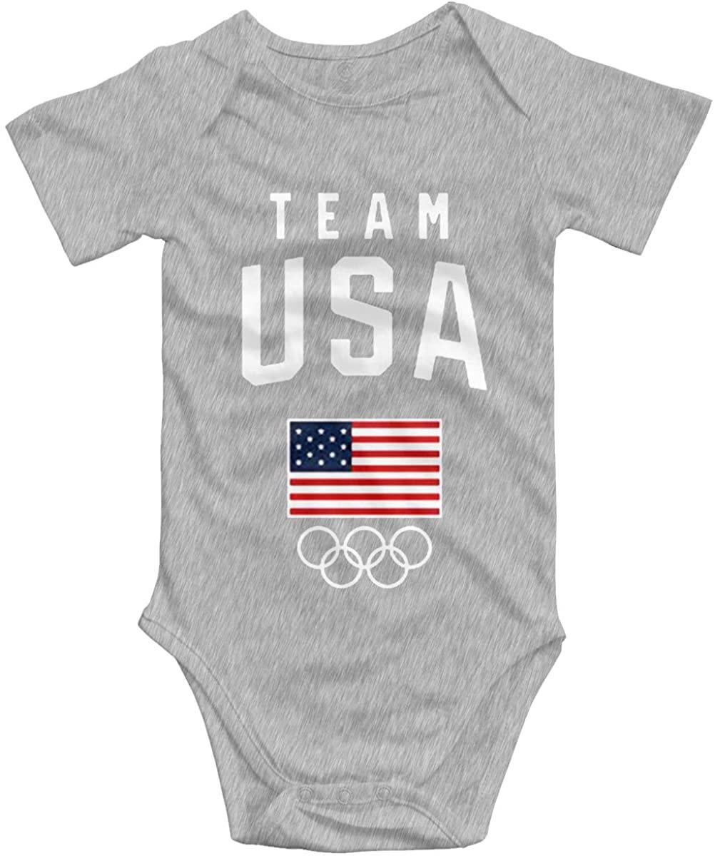 2020 Olympic Games USA Team Newborn Bodysuits Short Sleeves Baby Boys Girls Jersey Baby Onesies Black
