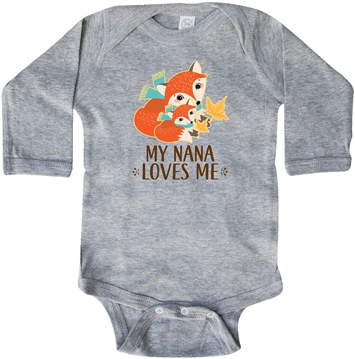 inktastic My Nana Loves Me Gift Cute Fox Long Sleeve Creeper