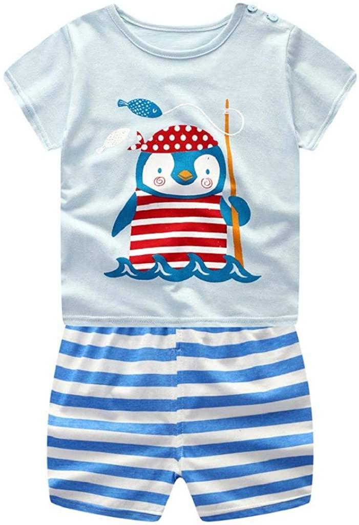 terbklf Unisex Newborn Infant Baby Boys Girls Cartoon Penguin Printed Short Sleeve Cotton Tops Shirt+Pants Outfits Set