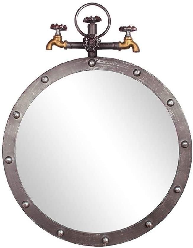NJYT Retro Wall Bathroom Mirror Hanging Mirror Vanity Makeup and Shaving Mirror Decorative Mirror Holder Plane Water Pipe Mirror Vanity Mirrors (Size : Diameter 50cm)