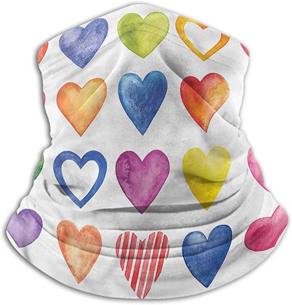 Bandanas For Men Grunge Unisex Anti-Dust Washable Watercolor Heart Romance 10 x 12 Inch