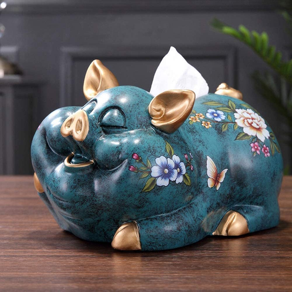 Monkibag Tissue Box Chinese Style Tissue Box Holder Cover Lucky Pig Tissue Box for Living Room Night Stands (Color : Green, Size : 27x18x20cm)