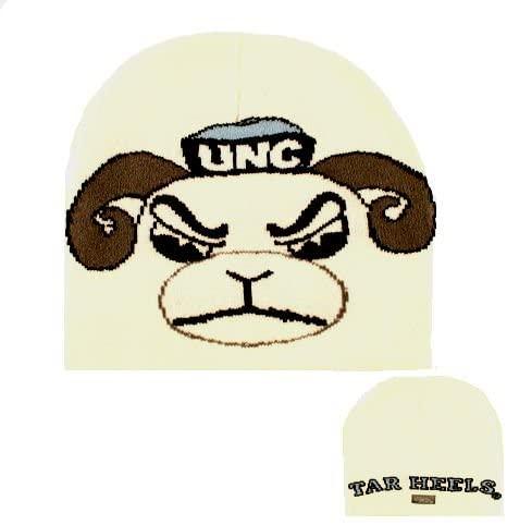 North Carolina Tar Heels White Youth Cuffless Tar Heels Logo Knit Beanie Kids Hat Cap Huge Tar Heels Logo Boys And Girls