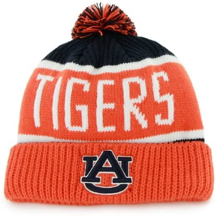 '47 Auburn Tigers Orange Calgary Beanie Hat with Pom - NCAA Cuffed Winter Knit Toque Cap