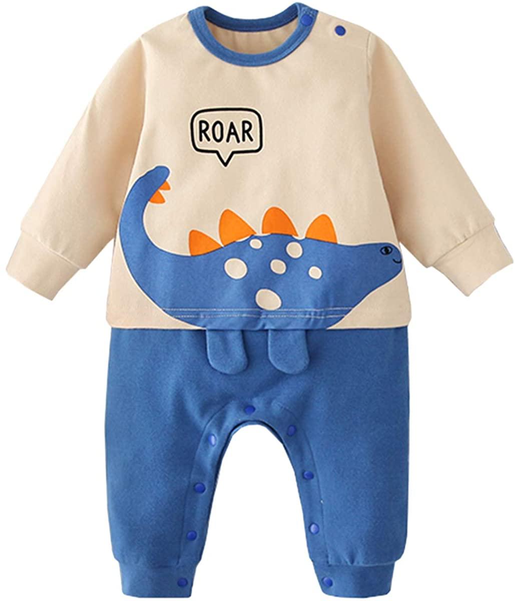 famuka Baby Boy Dinosaur Bodysuit Long Sleeve One Piece Baby Clothing