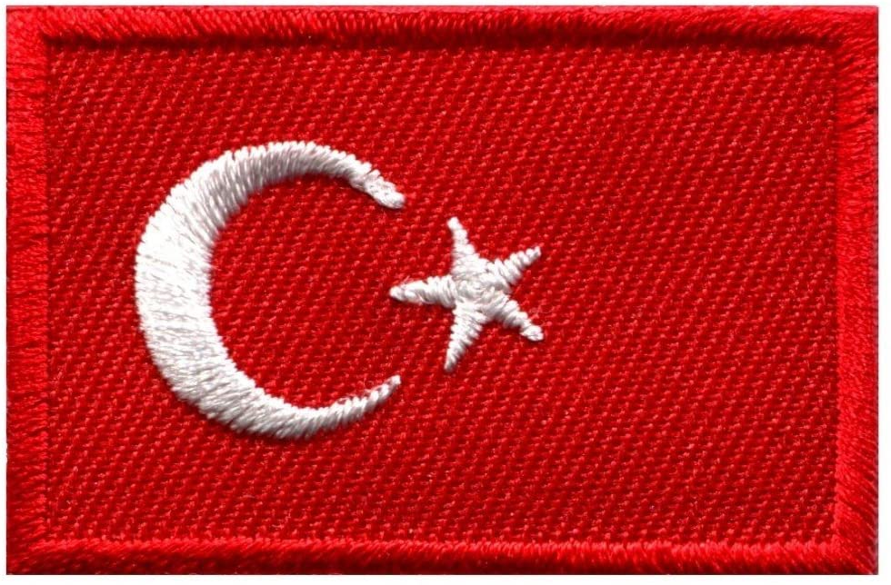 Flag of Turkey Turkish Star Crescent Moon Applique Iron-on Patch Medium S-643 Handmade Design From Thailand