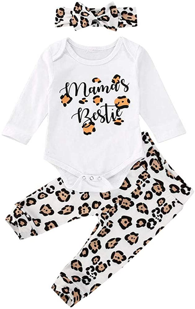 Infant Baby Girls Fall Winter Leopard Clothes Long Sleeve Funny Words Romper Bodysuit Long Pants Outfit Set