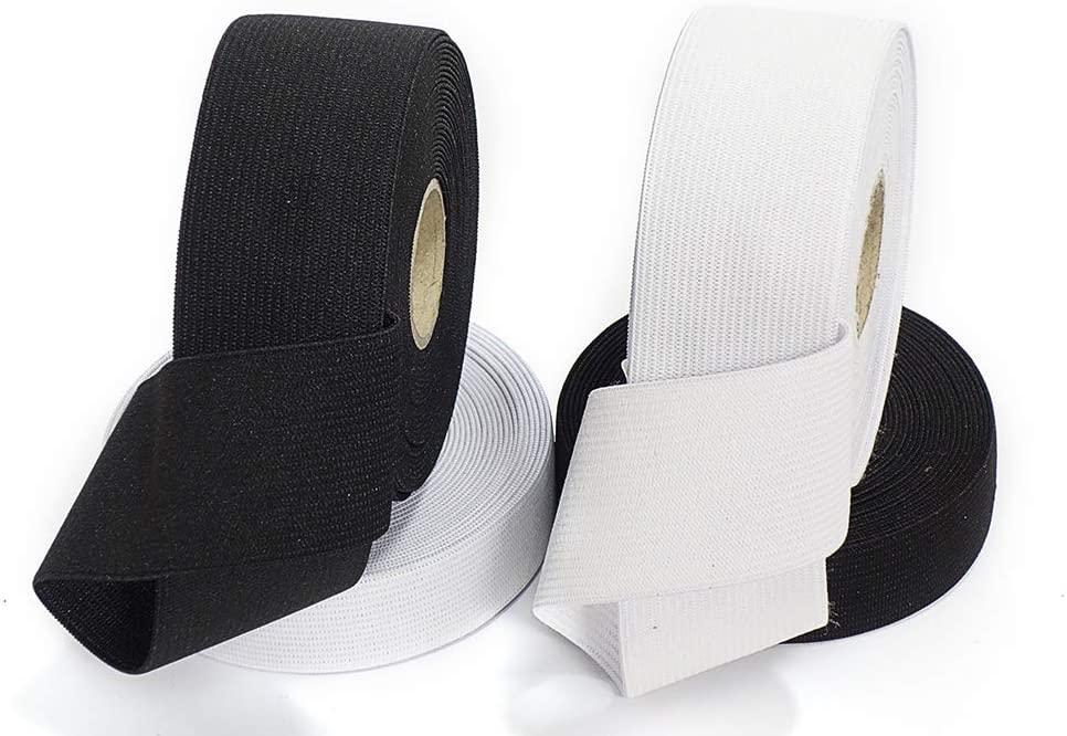 Matsa Soft Elastic Ribbon, Pack of White and Black (25 & 40 mm), Set of 4 Rolls of 10 Meters, 40 m