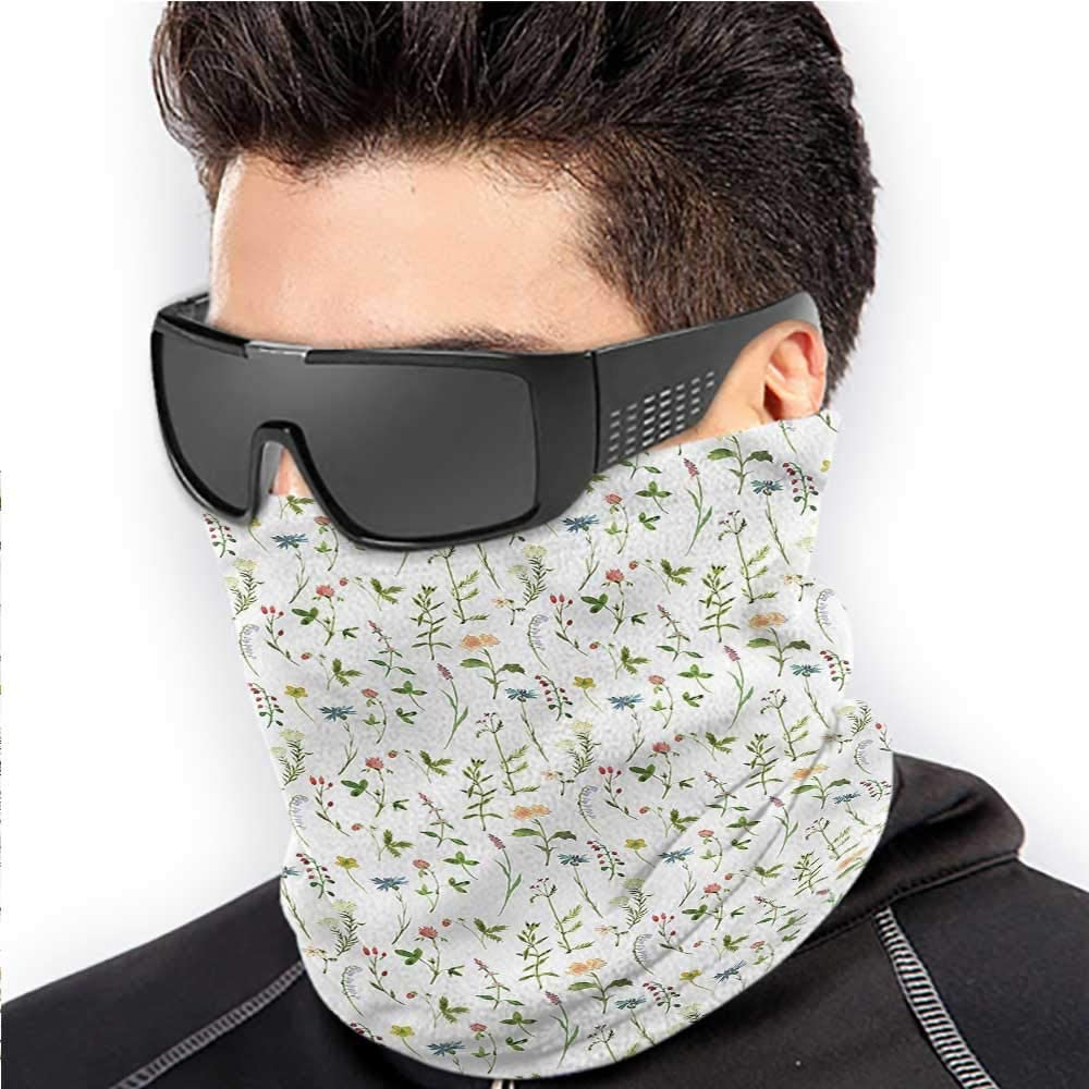 Face Scarf Mask For Men Nature Sun Protection Windproof, Fishing Running Cycling Artistic Spring Herbs Leaves 10 x 12 Inch